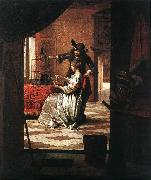 HOOCH, Pieter de Couple with Parrot sg oil painting artist