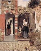 HOOCH, Pieter de The Courtyard of a House in Delft dg oil painting artist