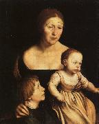 Hans Holbein The Artist's Wife with Katherine and Philip oil painting picture wholesale