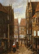 Jacobus Vrel Street Scene with Couple in Conversation oil painting picture wholesale