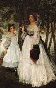 James Tissot The Two Sisters;Pprtrait oil painting picture wholesale