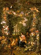 Jan Brueghel Holy Family in a Flower Fruit Wreath Germany oil painting reproduction