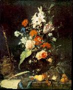 Jan Davidsz. de Heem Flower Still-life with Crucifix and Skull oil painting artist