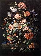 Jan Davidsz. de Heem Flowers in Glass and Fruits oil painting artist