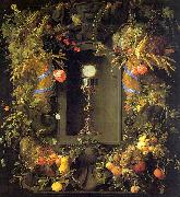 Jan Davidz de Heem Eucharist in a Fruit Wreath oil painting picture wholesale