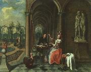 Jan Josef Horemans the Elder Garden with Figures on a Terrace oil painting picture wholesale