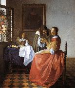 Jan Vermeer A Lady and Two Gentlemen oil painting artist