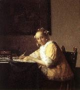 Jan Vermeer A Lady Writing a Letter oil painting artist