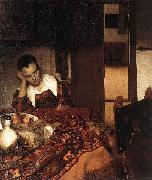 Jan Vermeer A Woman Asleep at Tablec oil painting picture wholesale