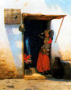 Jean Leon Gerome Woman of Cairo at her Door oil painting
