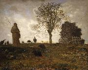 Jean-Franc Millet Autumn landscape with a flock of Turkeys oil painting artist