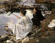 John Singer Sargent Two Girls Fishing oil painting picture wholesale