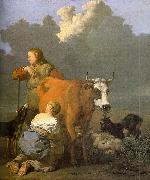 Karel Dujardin Woman Milking a Red Cow oil painting artist