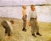 Karoly Ferenczy Boys Throwing Pebbles into the River oil painting picture wholesale