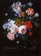 Nicolaes Van Verendael A Tulip, Carnations and Morning Glory in a Glass Vase Germany oil painting reproduction