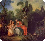 Nicolas Lancret A Lady and Gentleman with Two Girls in a Garden oil painting artist
