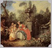 Nicolas Lancret Lady Gentleman with two Girls and Servant oil painting picture wholesale