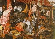 Pieter Aertsen  Butcher's Stall with the Flight into Egypt Germany oil painting reproduction