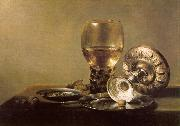 Pieter Claesz Still Life with Wine Glass and Silver Bowl oil