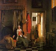 Pieter de Hooch Mother Lacing her Bodice Beside a Cradle oil