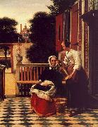 Pieter de Hooch Woman and a Maid with a Pail in a Courtyard oil