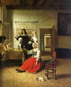 Pieter de Hooch Woman Drinking with Soldiers oil