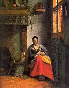 Pieter de Hooch Woman Nursing an Infant oil