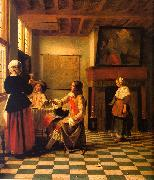 Pieter de Hooch Woman Drinking with Two Men and a Maidservant oil