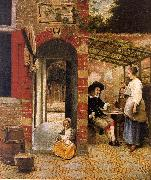 Pieter de Hooch Courtyard with an Arbor and Drinkers oil