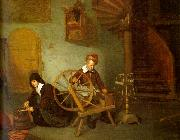 Quirijn van Brekelenkam Man Spinning and Woman Scraping Carrots oil painting picture wholesale