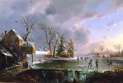 Regis-Francois Gignoux Skating by the Mill oil painting artist