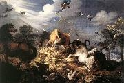 Roelant Savery Horses and Oxen Attacked by Wolves oil painting picture wholesale