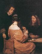 TERBORCH, Gerard Card-Players awr oil painting artist