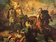 Theodore Chasseriau Arab Chiefs Challenging to Combat under a City Ramparts oil painting artist