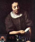 VERMEER VAN DELFT, Jan Lady with Her Maidservant Holding a Letter (detail)er oil painting picture wholesale
