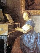 VERMEER VAN DELFT, Jan Lady Seated at a Virginal (detail) aer oil painting picture wholesale