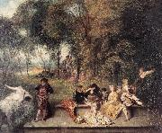 WATTEAU, Antoine Merry Company in the Open Air1 oil painting picture wholesale