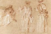 WATTEAU, Antoine Three Studies of a Lady with a Hat oil painting picture wholesale