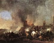 WOUWERMAN, Philips Cavalry Battle in front of a Burning Mill tfur oil