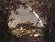WRIGHT, Joseph Landscape with Rainbow wer oil painting artist