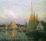 Wilson Irvine Evening in the Harbor oil painting artist