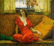 Wilson Irvine Lady in Red oil painting artist