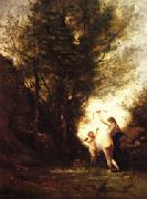 camille corot A Nymph Playing with Cupid(Salon of 1857) oil painting picture wholesale