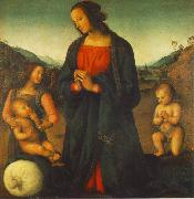 PERUGINO, Pietro Madonna, an Angel and Little St John Adoring the Child (Madonna del sacco) R oil painting picture wholesale