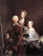 PESNE, Antoine Self-portrait with Daughters sg oil painting artist
