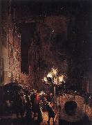 POEL, Egbert van der Celebration by Torchlight on the Oude Delft af oil painting picture wholesale