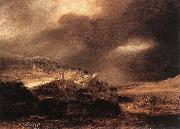 REMBRANDT Harmenszoon van Rijn Stormy Landscape wsty oil painting picture wholesale