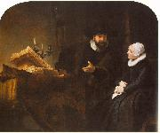 REMBRANDT Harmenszoon van Rijn The Mennonite Minister Cornelis Claesz. Anslo in Conversation with his Wife, Aaltje D oil painting picture wholesale