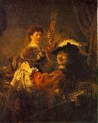 REMBRANDT Harmenszoon van Rijn Rembrandt and Saskia in the Scene of the Prodigal Son in the Tavern dh oil painting artist