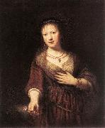 REMBRANDT Harmenszoon van Rijn Portrait of Saskia with a Flower Germany oil painting reproduction